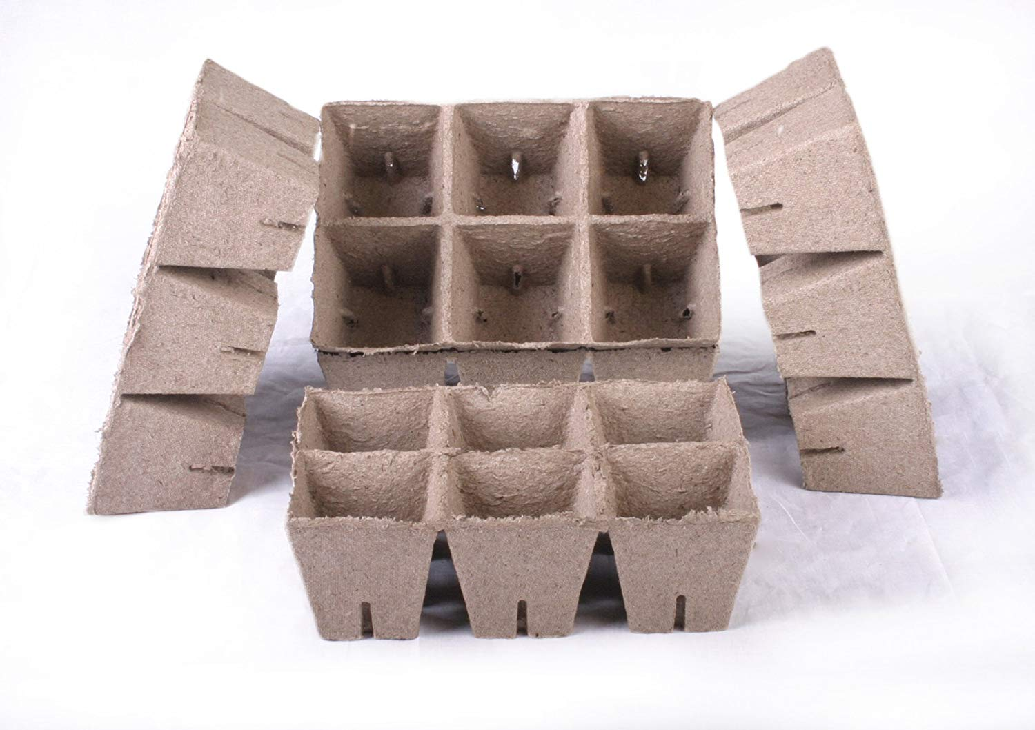 150 NEW Square Jiffy Peat Pots Size 3x3 - Strips ~ Pots Are 3 Inch Square At the Top and 3 Inch Deep.