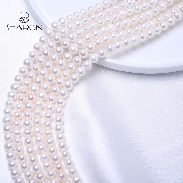 8-9-mm قرب جولة شكل فضفاض المياه العذبة بيضاء اللؤلؤ اللؤلؤ حبلا للمجوهرات بالجملة