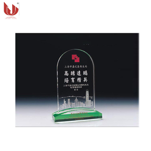 New Design Green Blank Glass Crystal Awards Plaque