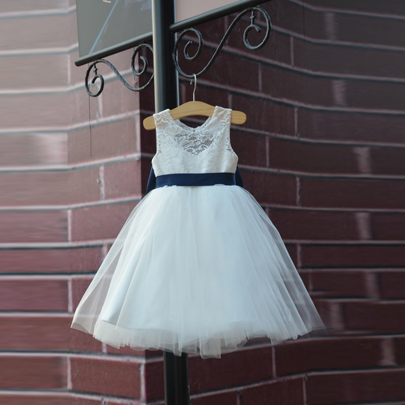 6a4e9b56c Hot Rustic Ivory Lace Navy Blue Sash/Bow Flower Girl Dress White Country  Toddler Wedding Baptism Tulle Girls Pageant Dresses