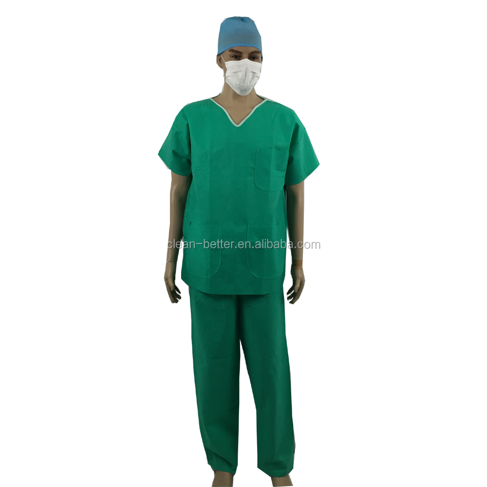 Patient medical scrubs suit disposable SMS non woven surgical scrub suit