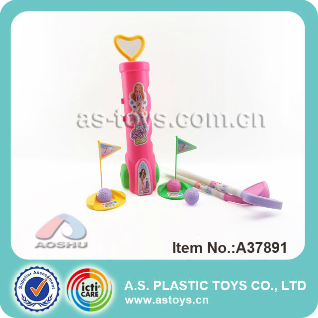 pink lovely children play outdoor sport game plastic golf toys with good price