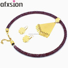 AFXSION Fashion Accessories 2018 New design hot selling gold plating fringed stainless steel jewelry set women