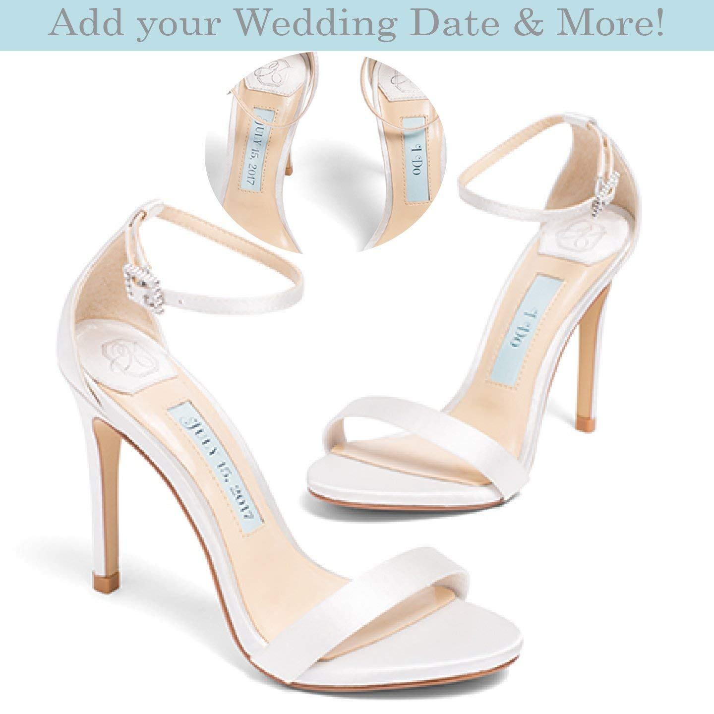 "Wedding Shoes -""Patent-Pending"" personalization - Ivory satin wedding sandal - Style Samantha"