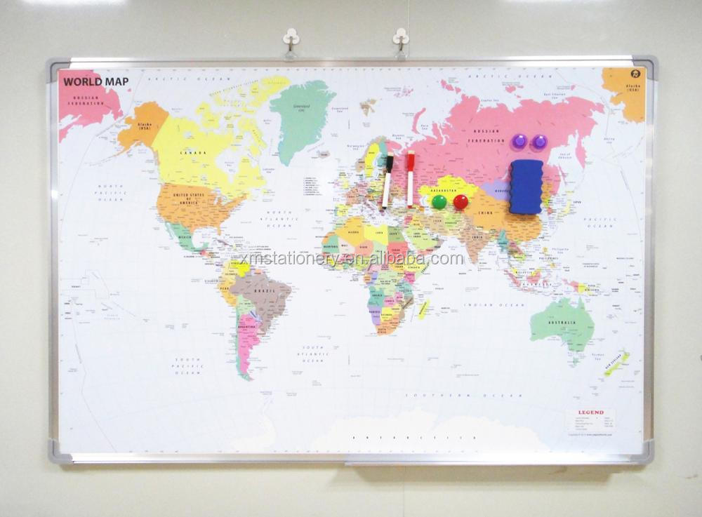 Magnetic World Map Board Customized Whiteboard