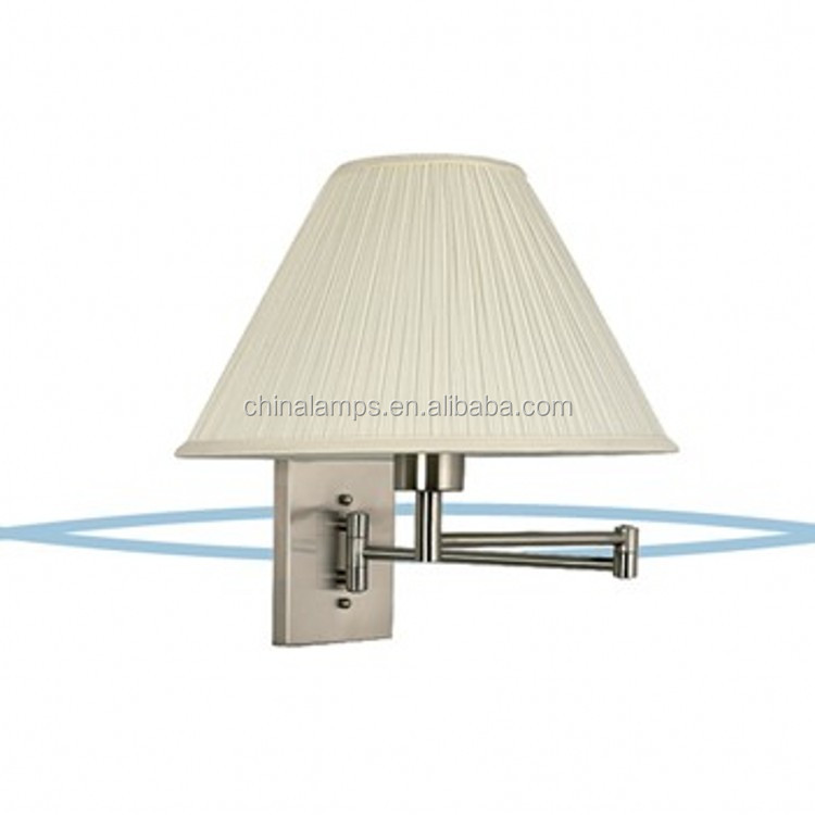 Brushed Nickel Hotel Swing Arm Wall Lamp,Wall Lighting With Fabric ...
