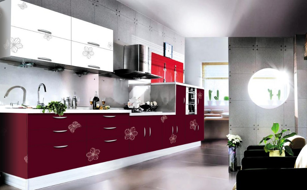Modern Open Style Kitchen Cabinet Acrylic Doors Design