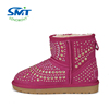 Factory directly faux fur women winter leather boots shoes with rivet