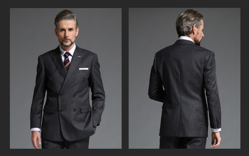 0f6e1e2c743f6 2015 New Style 100% Wool Dark Grey Stripes Double Breasted Mens Suit ...