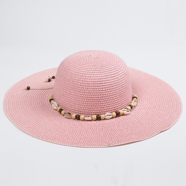 New arrival floppy straw cap and hat Popular Pearl small shell Decoration  beach sunmmer paper hats 4523eebbe41