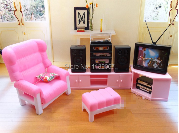 Tv sound stand chair set dollhouse pink television set living room