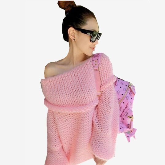 Hot Sale New 2015 Winter Female Sweater Sexy Slash Neck Solid Women's Tops Fashion Hand Knitted Loose Women Sweaters