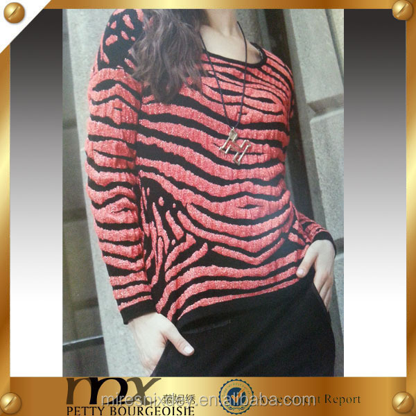 Hot sale round collar red black striped sweater