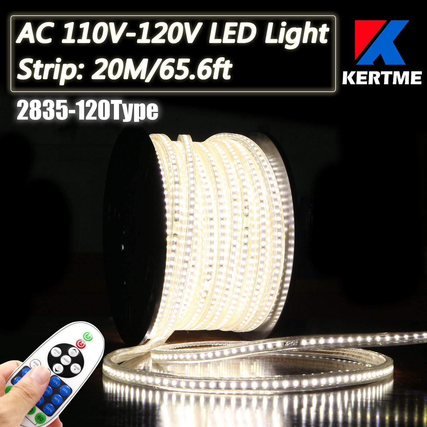 KERTME 2835-120 Type AC 110-120V LED Strip Lights, Flexible/Waterproof/Dimmable/Multi-Modes LED Rope Light + 23 Keys Remote for Home/Garden/Building Decoration (65.6ft/20m, Natural White 4000K)