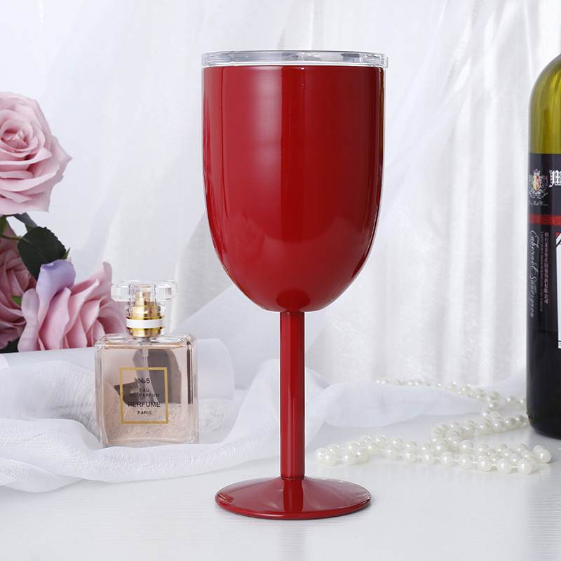 12oz Customized Logo Double Wall Insulated Stainless Steel Stemmed Wine Cup with Slide Lids (Red)