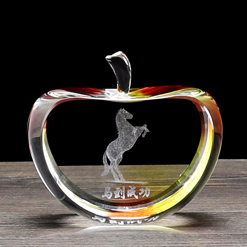 wholesale K9 clear crystal apple for Christmas gifts and wedding thankful presents