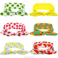 Fancy fruit patten printed fabric baby headband custom multifunctional headwear