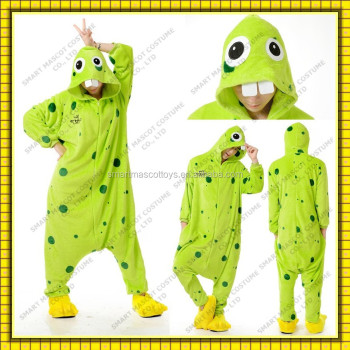 Warm thick flannel green monster onesie wholesale only adult green monster onesie pajamas