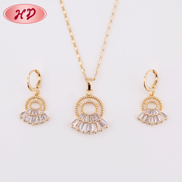Super Quality Fashion Fancy 2 Gram Gold Jewelry Necklace interchangeable Earring Set