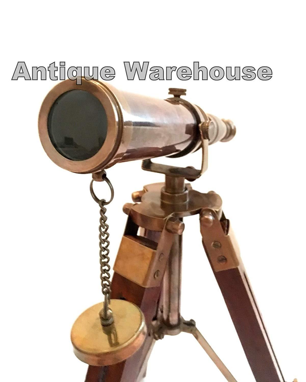 Nautical Scope Pirate Spyglass Ant Brass Telescope With Wooden Tripod Decor Gift