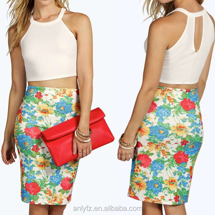 Anly wholesale new fashion floral printed cotton wrap around skirt