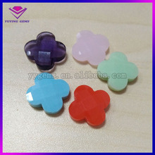 Four-leaved clover shape glass stone green jade milky glass gemstones