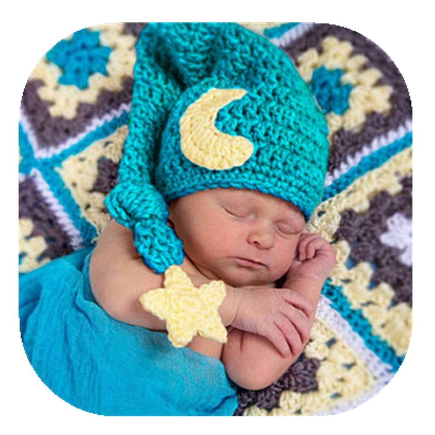 054ba98aa3a4 Get Quotations · Newborn Baby Photography Props Outfits Crochet Knit  Fashion Cute Moon Star Hat for Boy Girl Photography