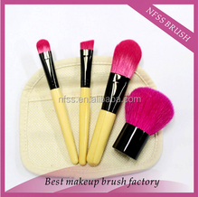 2015 new design 4 pcs portable bamboo handle pink makeup brush set with cotton cosmetic bag