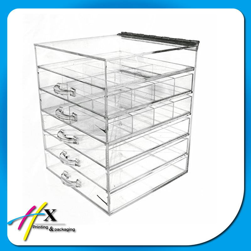 China Suppliers Makeup Acrylic Lucite Clear Cube Organiser Drawers Removeable Dividers