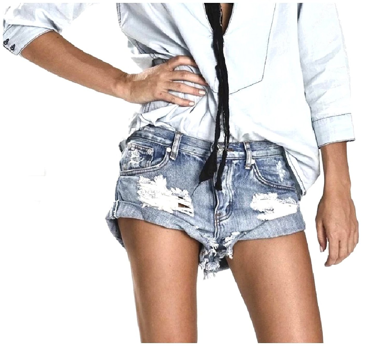 c63c2442d6 Get Quotations · Sheng Xi Womens Stretch Washed Hole Denim Rolled Cuff  Jeans Denim Shorts