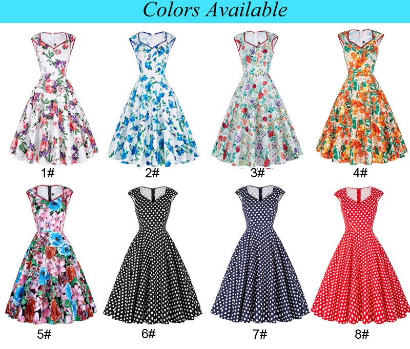 Grace Karin Cotton Vneck Vintage Flower Print Pattern 40s Dress Inspiration Vintage Dress Patterns 1950s