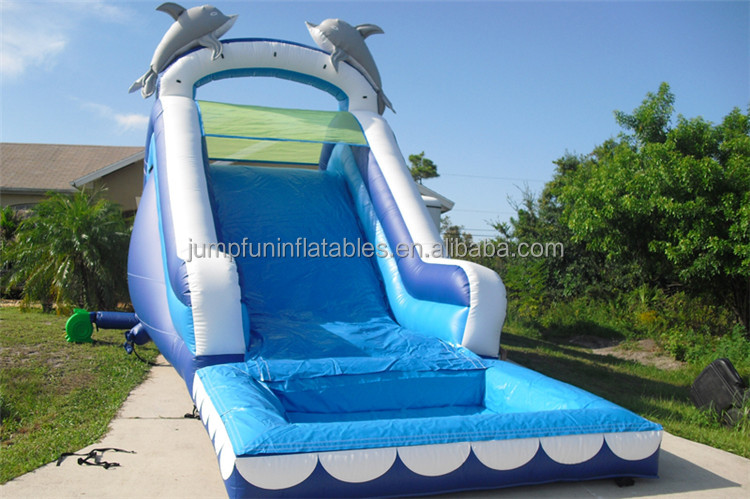 JFIS-1260 dolphin water slide pool high quality Kids inflatable yard toys