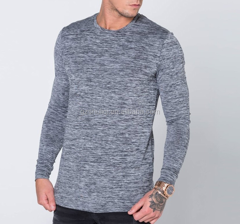 custom men polyester spandex t-shirts sport gym long sleeve t shirt made in china