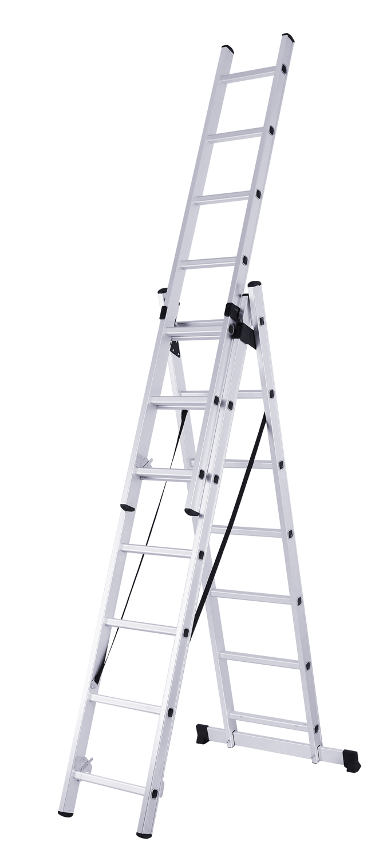 Loft Ladder 3 Section Aluminium Attic Ladders Folding Handrail Sliding  Stairs