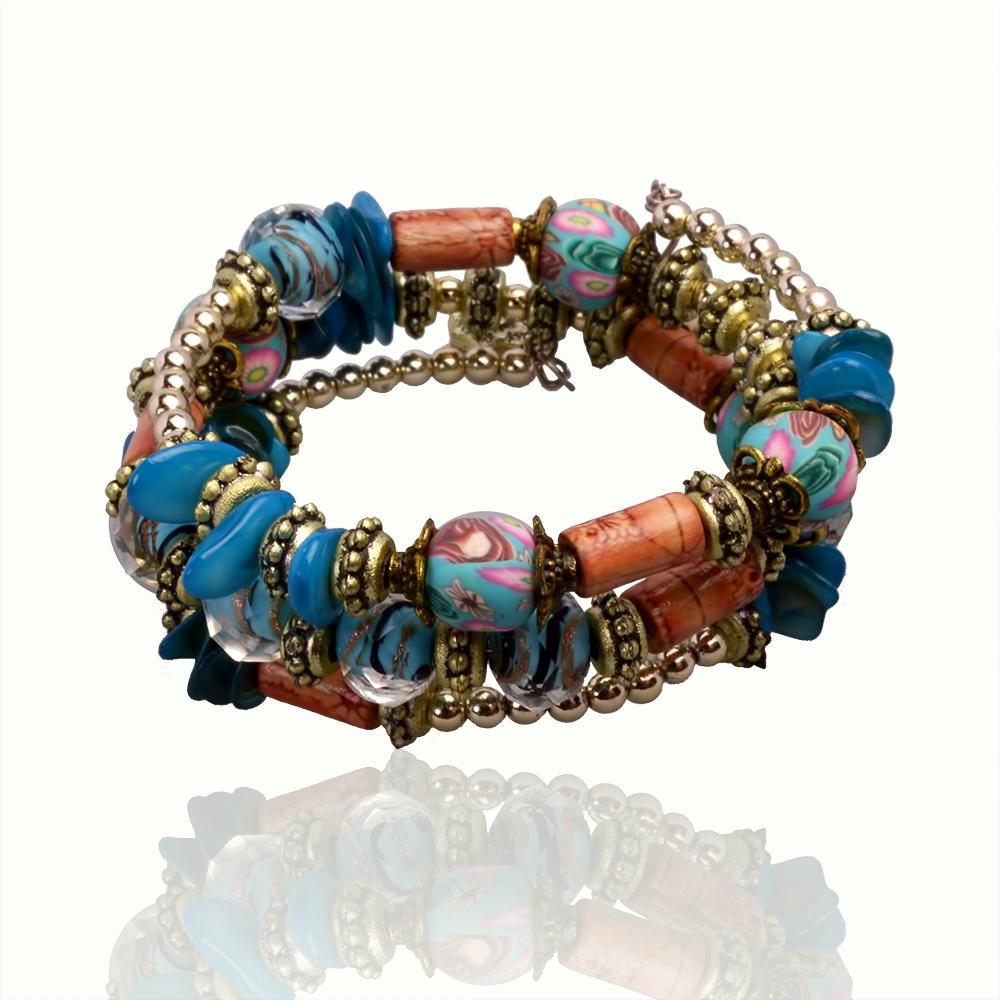 Десять стиль мода имитация ювелирных камней браслет рукоделие многослойные природный камень смолаы браслет браслеты для женщин