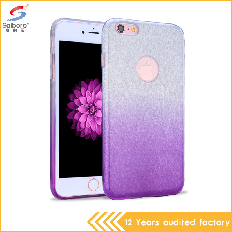 China supplier pc tpu bling glitter purple color phone cover case for apple iPhone 6 plus 6s plus