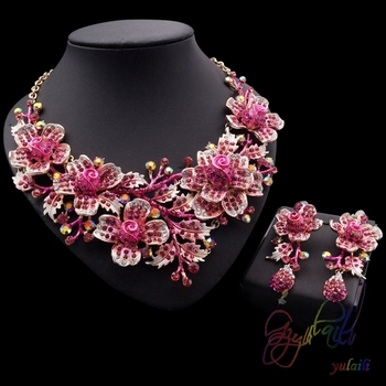 Wholesale Fashion Jewelry Dulhan Jewellery Set Rose Gold Plated
