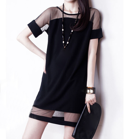 hot sale 2015 summer sexy blue black colors chiffon dresses o neck short sleeves mesh dress plus size.ty0476.xpp