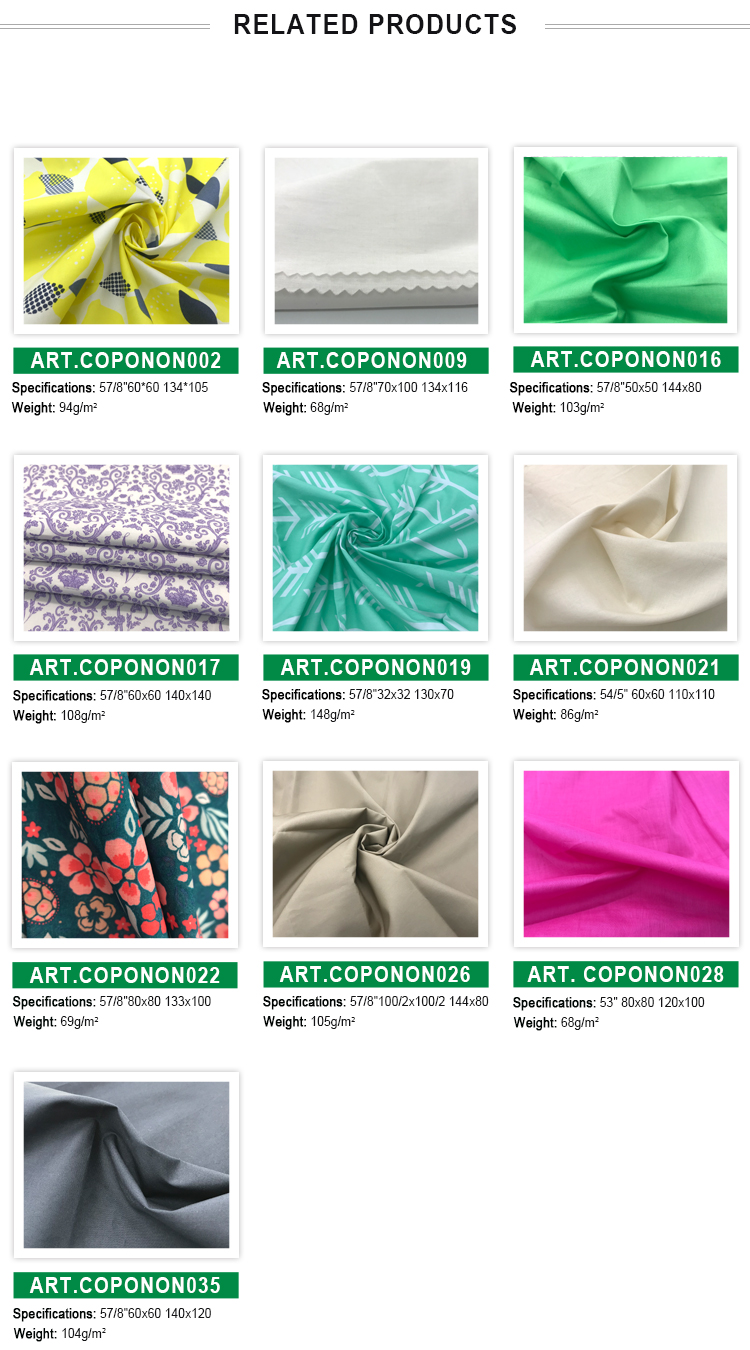 120gsm 100% cotton plain dyed compact combed yarn poplin fabric wholesale for dressing