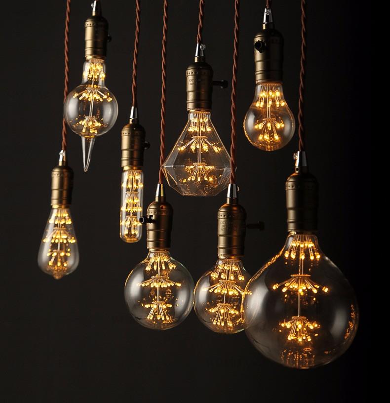 Venusop Christmas Decoration Edison Style Light Bulbs Led