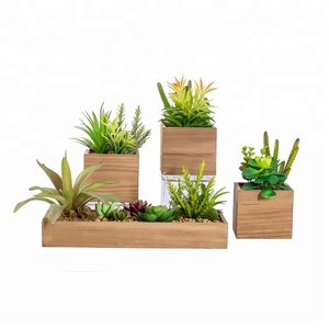 Wholesale cheap plastic waterproof fake artificial succulent plants in wooden flowerpot