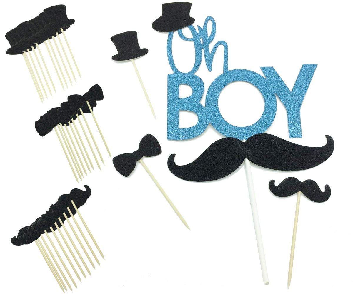 Get Quotations · Blue Glitter Oh Boy Baby Cake Topper Black Mustache Bowtie  Hat Gender Reveal Cupcake Topper Picks 8a1988a5ebb6