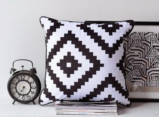 h3242 noir blanc g om trie coussin cas doux velours impression oreiller cages canap couch throw. Black Bedroom Furniture Sets. Home Design Ideas