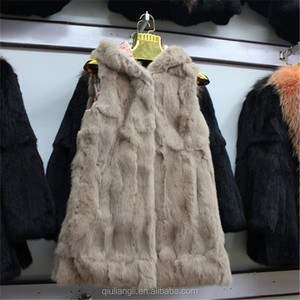 2017 Winter Wholesale Real Rabbit Fur Vest With Hood Hooded Fur Vest For Women