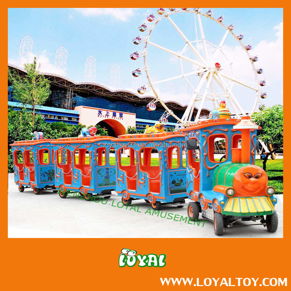2016 BRAND NEW BATTERY OPERATED Trackless Train,Amusement Train,Large Tourist Train with Locomotive in Low Cost