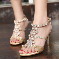 2015 latest stiletto heel sandals Diamond crystal high heel party shoes PZ3480