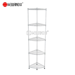 Adjustable 5 Tiers Chrome Wire Corner Shelving Rack Unit,NSF Approval