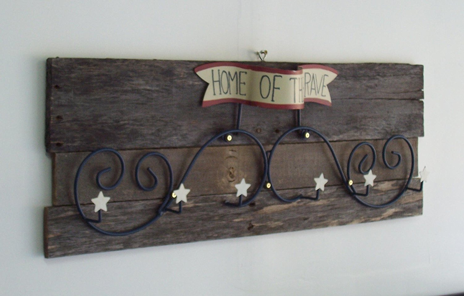 Rustic Patriotic 'Home of The Brave' Unique Country Wall Hanging.