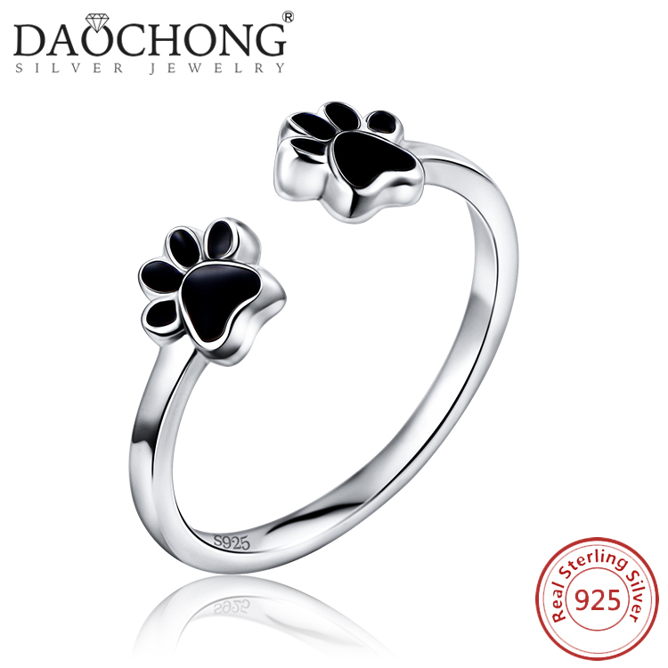2017 Custom Design party Gift dog puppy paw open type cheap silver ring for girls