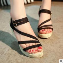 Korean style shoes casual PU design best selling ladies summer wedge sandals